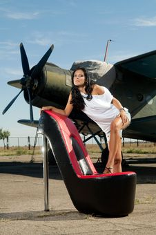 Free Woman And Plane Stock Photos - 20407383