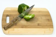 Free Fresh Green Pepper Cut With A Knife Stock Images - 20407544