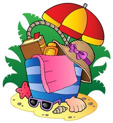 Cartoon Beach Bag With Umbrella Royalty Free Stock Images