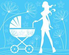 Free Silhouette Mom Walking With Baby Carriage Stock Images - 20408664