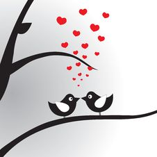 Free Birds In Love On The Branch. Vector Illustration. Royalty Free Stock Photo - 20409305