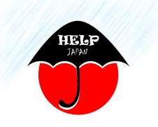 Free Help Japan Under Umbrella Royalty Free Stock Photo - 20409855