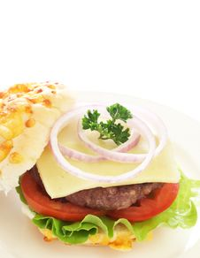 Free Tasty Hamburger With Beef Patty And Tomato Stock Photography - 20409872