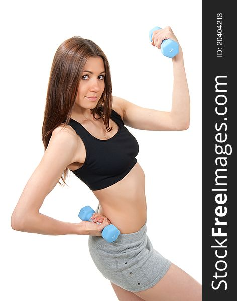 Fitness woman instructor weightlifting