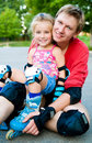 Free Dad With His Daughter On The Skates Royalty Free Stock Image - 20417766