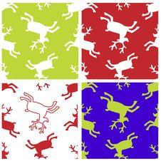 Reindeer Xmas Seamless Patterns Set Stock Images