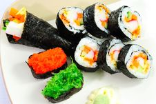 Closeup Japanese Sushi. Series Japanese Food Royalty Free Stock Photos