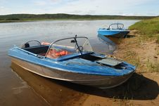 Two Motor Boats On The Shore Royalty Free Stock Image