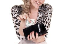 Free Woman Holding Purse With Cash Royalty Free Stock Image - 20411656