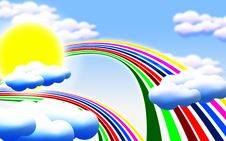 Free Sun Clouds Rainbow Royalty Free Stock Images - 20411749