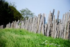 Free Old Wooden Fence On Green Meadow Royalty Free Stock Image - 20412346