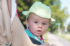 Free Baby Boy With Hat In Stroller Royalty Free Stock Image - 20412456