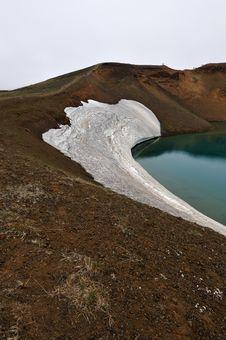 Krafla Volcano Crater Lake On Iceland Royalty Free Stock Photography