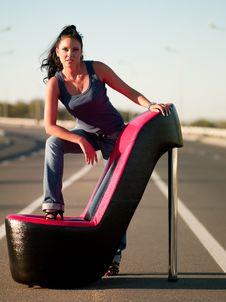 Woman On Highway Stock Photo