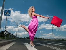Free Woman In A Pink Dress Stock Photo - 20413240