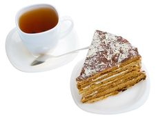 Free Piece Of Honey Cake And Tea Cup Stock Image - 20413581