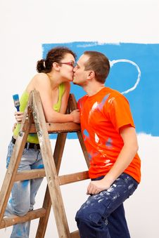 Free Kiss On The Ladder Stock Photos - 20413683