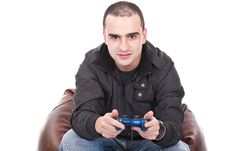 Free Man With A Joystick For Game Console Stock Photos - 20414423