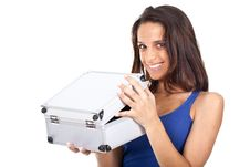 Free Woman With A Metal Box Stock Photography - 20414432