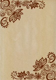 Free Floral Doodles On Brown Paper Royalty Free Stock Photos - 20414498