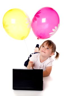 The Girl With Balloons And Laptop Stock Images