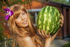 Free Young Woman With Watermelon Stock Image - 20414671