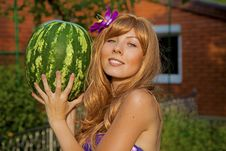 Free Young Woman With Watermelon Royalty Free Stock Photos - 20414728