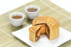 Free Moon Cake With Tea Stock Photography - 20415752