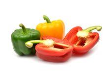 Fresh Colorful Paprika Isolated Stock Images