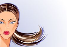 Free Face Part Of Vector Woman On Blue Background Royalty Free Stock Photos - 20415938