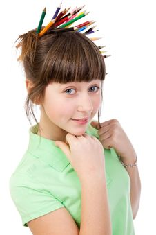 Free Girl With Pencils Royalty Free Stock Image - 20416106