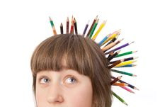 Free Girl With Pencils Stock Photos - 20416133