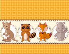 Cartoon Animal Card Royalty Free Stock Photo