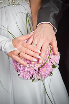 Free Bride And Groom Hands Stock Photography - 20416362
