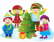 Free Christmas Card Frame Gift Figures Tree Stock Photography - 20416882