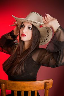 Free Lady In A Cowboy Hat Stock Photo - 20416900