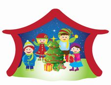 Free Christmas Card Frame Gift Figures Tree Stock Photography - 20416902