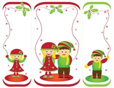 Christmas Card Frame Gift Figures Tree Stock Images