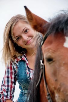 Free Girl And Her Handsome Horse Stock Image - 20417541
