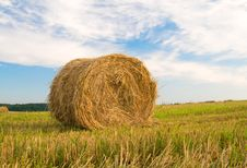 Free Beautiful Stubble Field With Hay Bales By Summer. Stock Image - 20418141