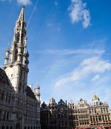 Middle Of Square Grand Place, Brussels, Belgium Royalty Free Stock Photo