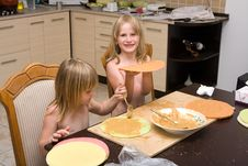 Free Young Girls Baking In The Kitchen Stock Image - 20419371