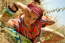 Lovely Young Woman In The Field Stock Photos