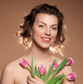 Free Beautiful Girl With Tulips Royalty Free Stock Image - 20420266