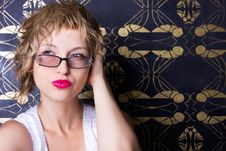 Sexy Woman Wearing Glasses Stock Photos