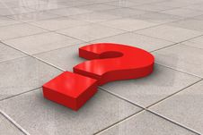 Red Question Mark On Tiled Floor Stock Images