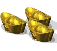 Free Three Chinese Gold Ingots Stock Image - 20423111