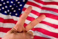 Fingers And Flag Stock Images