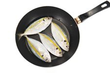 Fishes In A Frying Pan Royalty Free Stock Photos