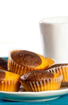 Plate Of Muffins With A Coup Of Milk Stock Photos